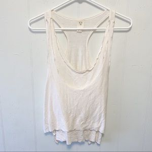 Free People Off-White Layered Racerback Tank